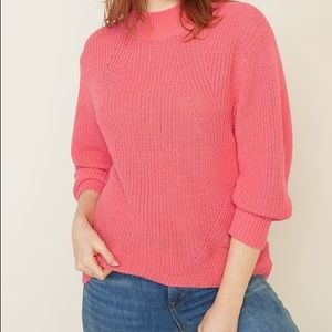 Coral Mock Neck Sweater